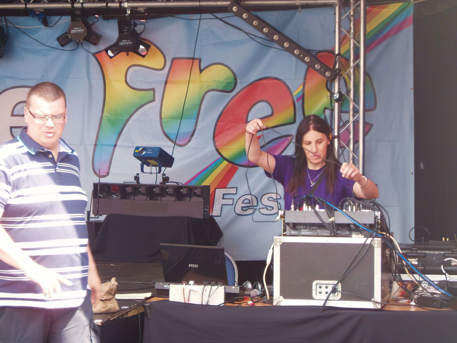 Me setting up the mixing desk for the open air MCC service at this year's Bourne Free Pride Festival.