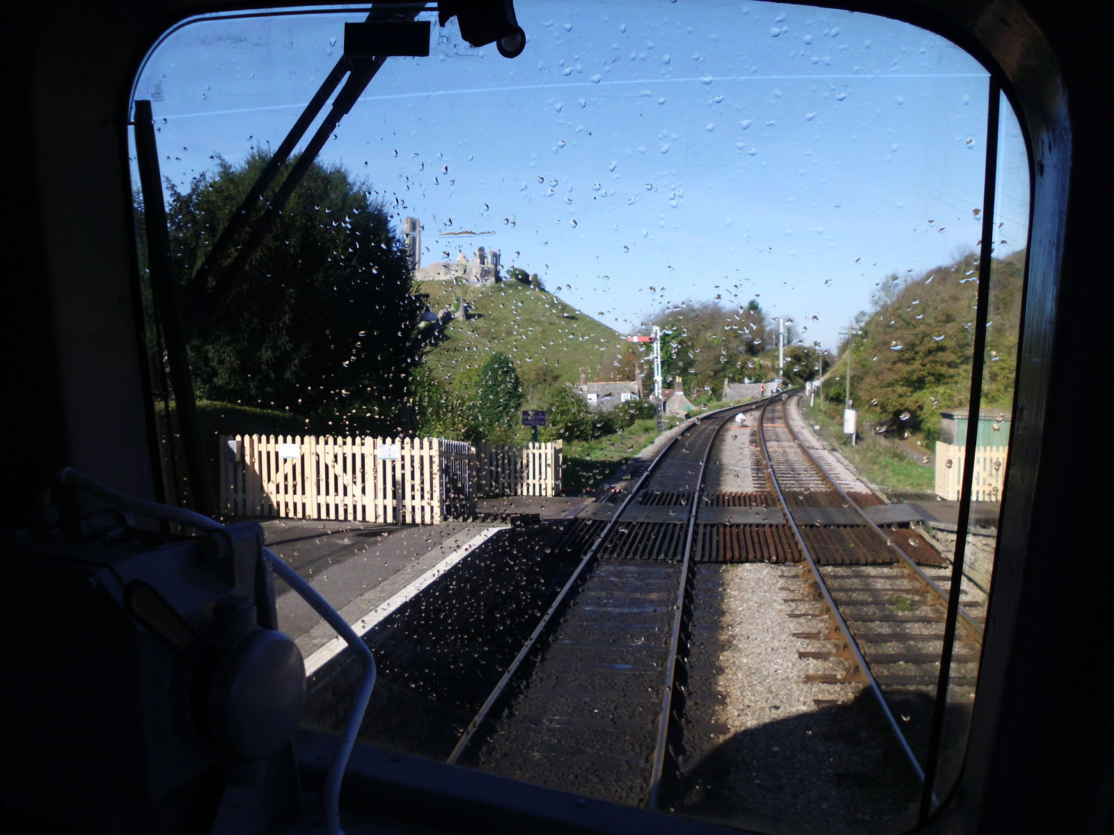The view from the cab of D6515 at Corfe Castle station on the Swanage Railway