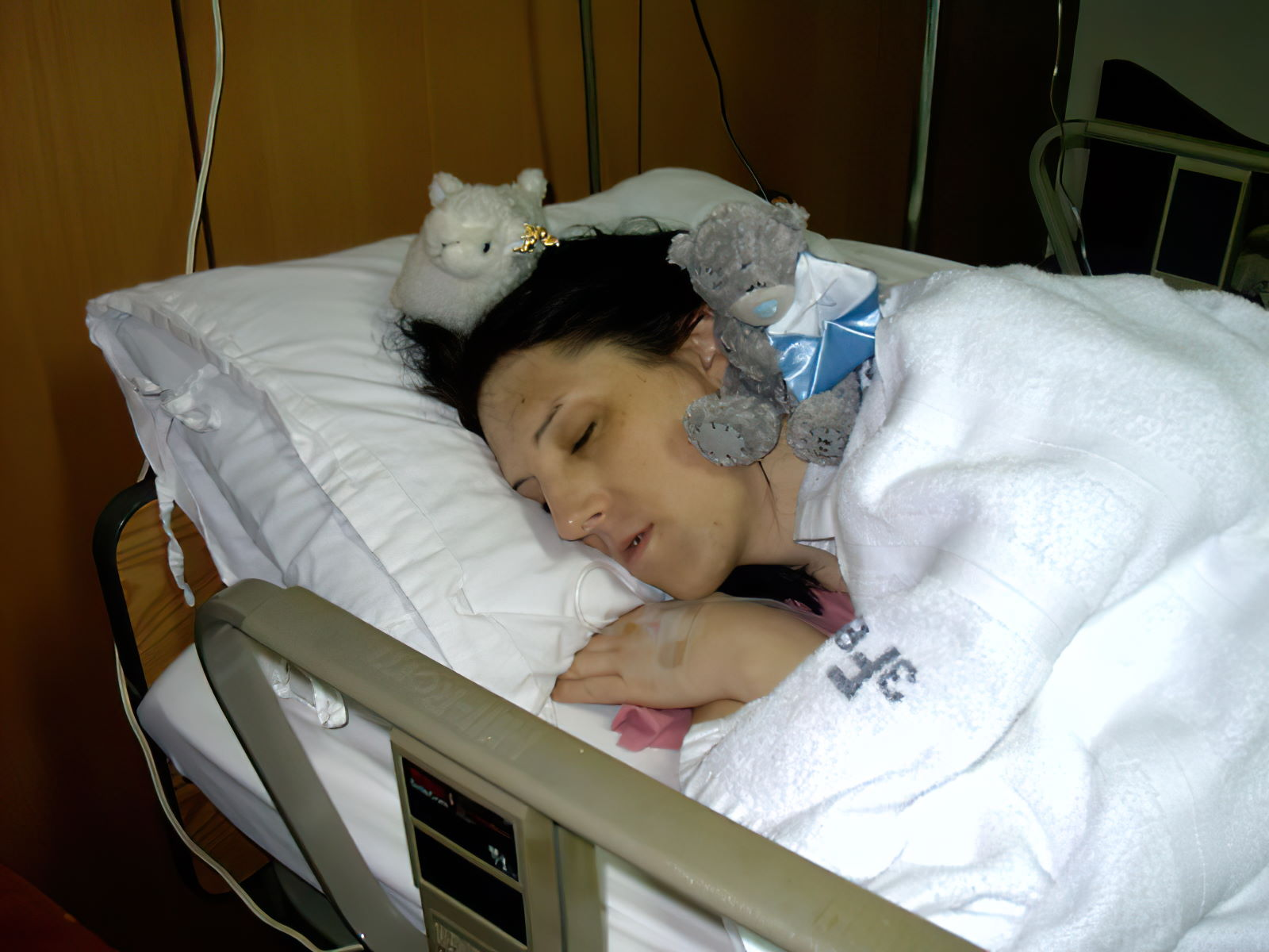 Asleep in my hospital bed a few hours after surgery