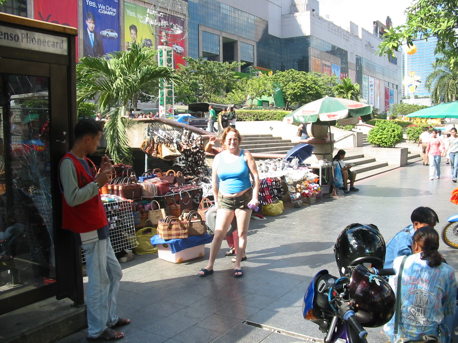 Kazzy outside the World Trade Centre in Bangkok. You can find some real bargains on the street stalls