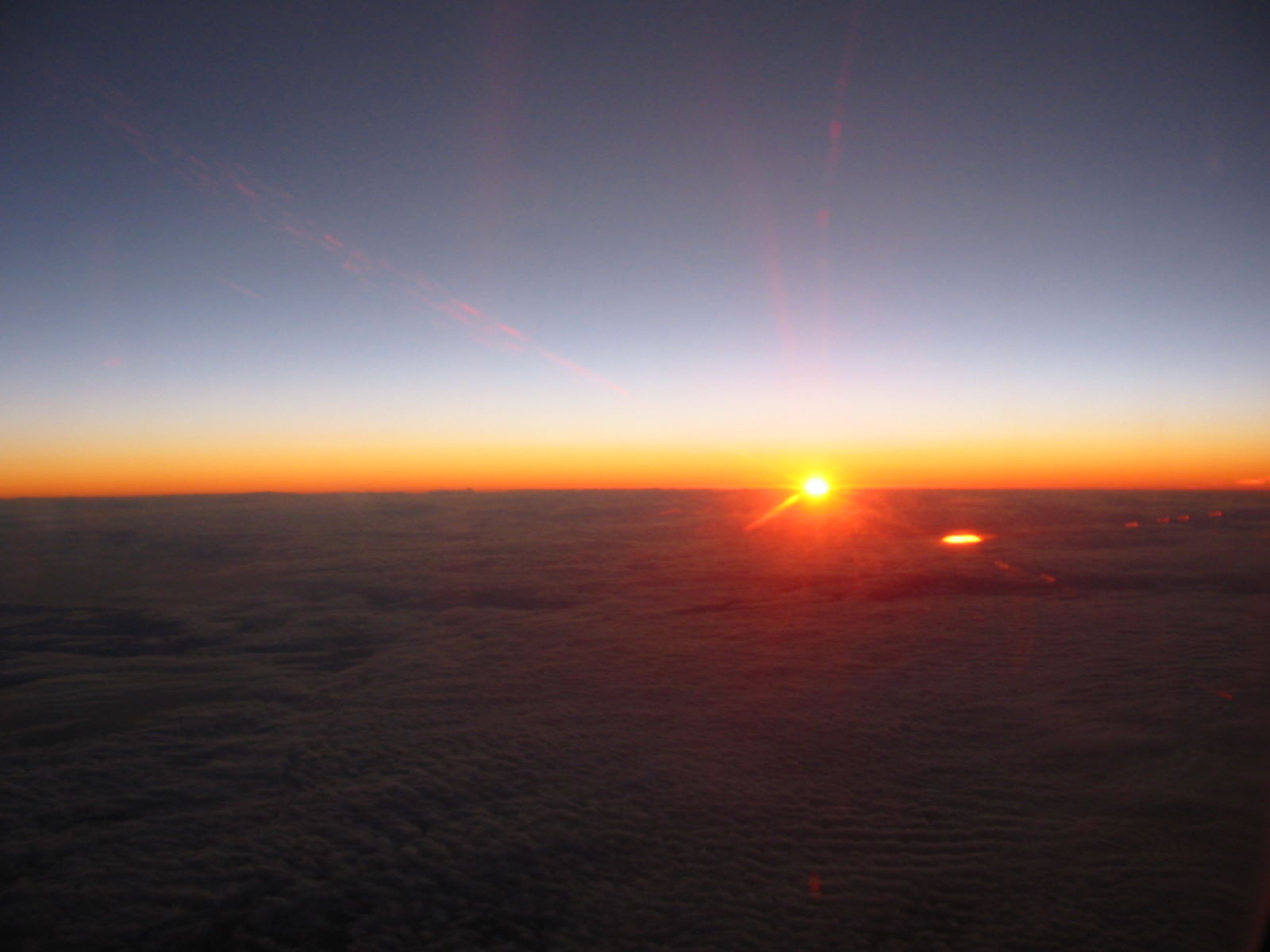 Sunset over the Caspian Sea from 35,000 feet up