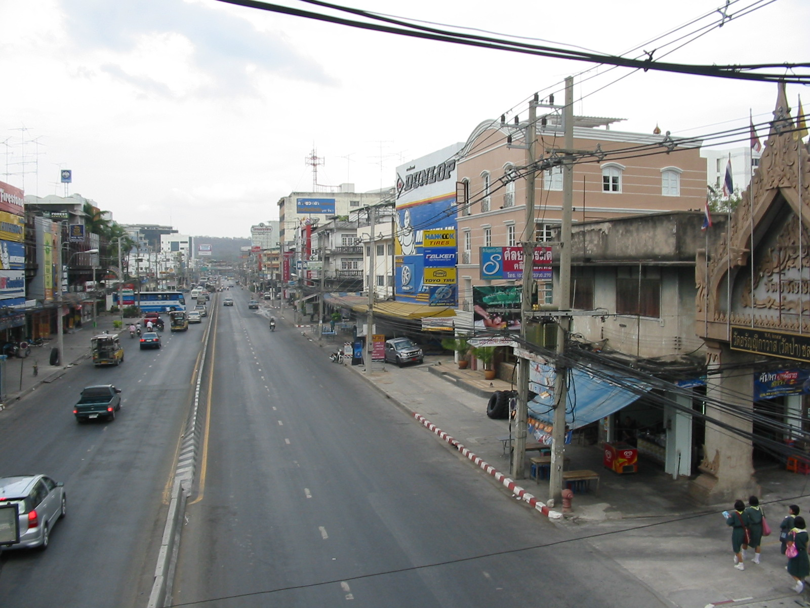 Sukhumvit Road in Chonburi, Thailand. The Suporn Clinic is the four-storey building on the right