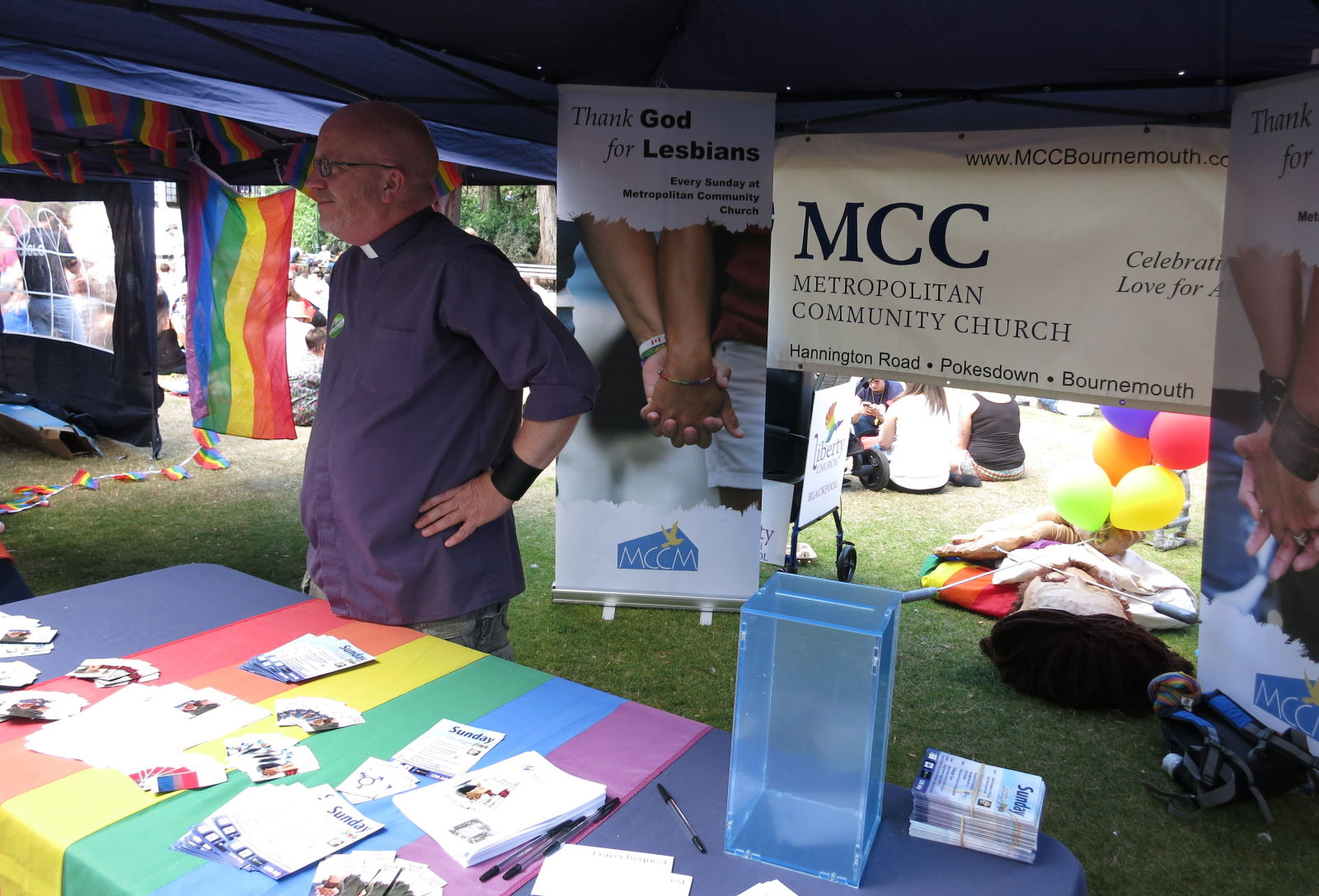 Our Pastor Revd. Dwayne Morgan at the Bourne Free Pride Festival
